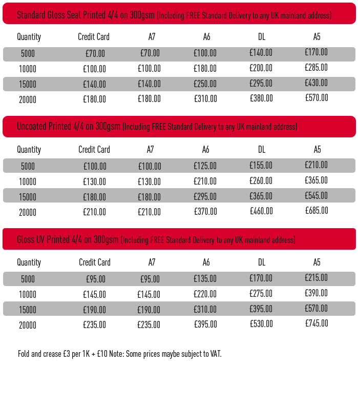 Flyer Price list